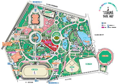 鶴舞公園・緑化センター 施設案内図より